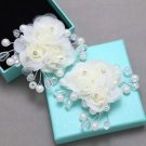 A Pair Rhinestone Crystal Beaded Wedding Bridal Ivory Flower Boots Shoes Clips