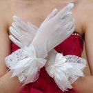 Cream White Lace Satin Bow Bridal Wedding Soft Tulle Finger Short Gloves