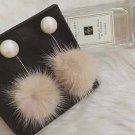 Posh Pom Faux Fur Fuzzy Crystal Rhinestone Dangling Drop Earrings Pearl Jewelry