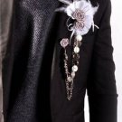 Rose Satin White Feather Copper Chain Groom Men Suit Corsage Brooch Pin