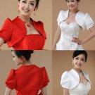 Bridal Wedding Red Off White Short Sleeves Shawl Outwear Sweater Bolero Jacket