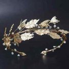 Wedding Bridal Vintage Leaf Crystal Gold Tiara Headpiece Hair Piece Crown