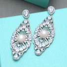 Gorgeous Large Chandelier Platinum Plated Cubic Zirconia Dangle Stud Earrings