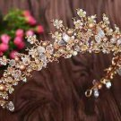 Wedding Crystal Flower Beads Gold Tiara Headpiece Hair Crown