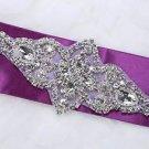 Wedding Bridal Rhinestone Crystal Beads Beaded Sew Iron On Sash Belt Applique