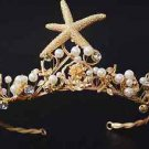 Wedding Starfish Rhinestone Crystal Pearl Gold Tiara Headpiece Hair Crown