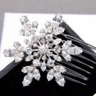 Christmas Wedding Bridal Snowflake Snow Flower Rhinestone Crystal Hair Comb