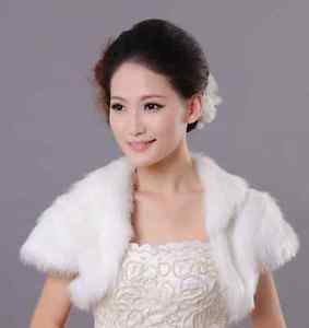 Black/Off White Wedding Bridal Sleeve Faux Fur Shawl Bolero Jacket Wrap Shrug