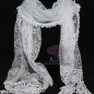 Vintage Costume Fashion Winter Light Grey Gray Lace Crochet Long Scarf Shawl