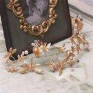 Faux Pearl Wedding Bridal Dragonfly Gold Tiara Headpiece Hair Piece