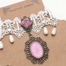 Pink Rose Drop Dangle Pearls Off White Lace Pendant Choker Necklace