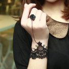 Lolita Bridal Wedding Black Flower Lace Flower Rose Ring Slave Bracelet
