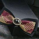 Pre Tied Bow Tie Gold Red Plaids Checks Design Men's BowTie Bow Tie