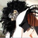 Wedding Bridal Lady Mens Party Black Feather Shoulder Pad Brooch Pin
