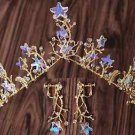 Wedding Crystal Starfish Star Leaf Gold Tiara Headpiece Hair Crown Earrings Set