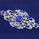 Wedding Bridal Dress Gown Silver Tone Royal Blue Rhinestone Crystal Brooch Pin