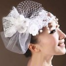 Off White Pearl Drop Flower Net Lace Headpiece Veil Hair Clip Accessories