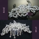 Mix Of 2 Wedding Bridal Flower Rose Rhinestone Crystal Tiara Hair Combs