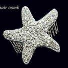 Christmas Party Prom Wedding Bridal Starfish Star Applique Hair Comb