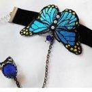Winter Fashion Royal Blue Rhinestone Butterfly Velvet Slave Ring Bracelet