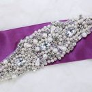 Ivory Faux Pearl Beaded Rhinestone Crystal Bridal Sew Iron Sash Craft Applique