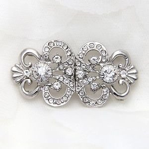 Vintage Rhinestone Crystal Wedding Closure Hook and Eye Sew On Button Clasp