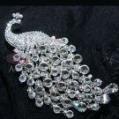 Large Wedding Bridal Aurora Rhinestone Crystal Peacock Brooch Pin