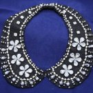 Women Black Rhinestone Detachable Beads Choker Pendant Shawl Neck Collar
