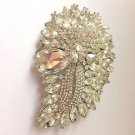 Vintage Large Wedding Dress Gown Sash Rhinestone Crystal Brooch Pin Jewelry