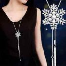 Winter Faux Pearl Snowflake Snow Flower Pendant Chain Necklace Jewelry