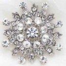 Wedding Bridal Snowflake Rhinestone Crystal Brooch Pin Winter Jewelry