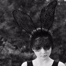 Christmas Party Bunny Rabbit Ear Lace Mask Hair Headband Headpiece Accessories