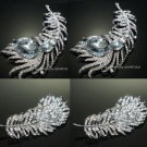 Mix Of 4 Feather Rhinestone Crystal Brooch Pin Jewelry DIY