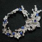 Lots 3 Blue Rhinestone Crystal Wedding Bridal Hair Chain Sash Headpiece Tiara