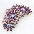 Aurora Wedding Purple Rhinestone Gold Base Flower Alloy Dress Brooch Pin Jewelry
