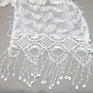 Vintage Paisley Ivory Crochet Lace Crochet Long Tassel Wrap Shawl Scarf
