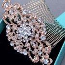 Rose Gold Vintage Style Rhinestone Crystal Wedding Headpiece Bridal Hair Comb