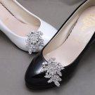 2 pcs x Bridal Vintage Style Rhinestone Leaf Shoes Wedding Crystal Shoe Clips
