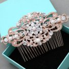 Faux Pearl Rose Gold Wedding Headpiece Bridal Hair Comb Crystal Accessories