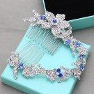 Long Flower Royal Blue Rhinestone Crystal Bridal Hair Comb Wedding Headpiece