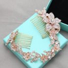 Rose Gold Flower Rhinestone Bridal Hair Comb Accessories Wedding Headpiece Tiara