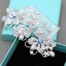 Blue Flower Rhinestone Wedding Headpiece Bridal Hair Comb Crystal Accessories