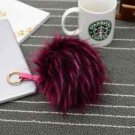 15cm Faux Fox Fur Pom Pom Keychain Key Chain Bag Ornament Faux Leather Keyring