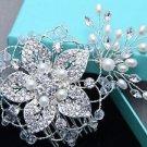 Pearl Bridal Rhinestone Comb Wedding Flower Hair Comb Crystal Headpiece