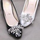 2 pcs x Bridal Rhinestone Pearl Beaded Leaf Shoes Wedding Crystal Shoe Clips