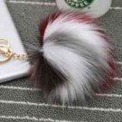 Large Colorful Fur Pom Pom Keychain Key Chain Bag Ornament Tassel Keyring