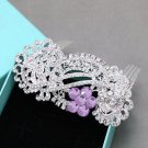 Purple Lavender Crystal Rhinestone Wedding Headpiece Bridal Hair Comb