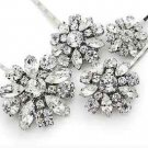 2pcs x Wedding Rhinestone Headpiece Crystal Silver Flower Bridesmaids Hair Clip