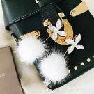 Posh Pom Faux Fur Fuzzy Rhinestone Dangling Drop Earrings Crystal Jewelry