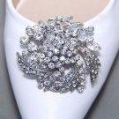 A Pair Vintage Rhinestone Leaf Buckle Bridal Wedding Crystal Shoe Clips Silver